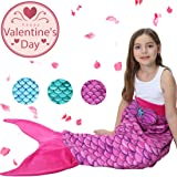 Mermaid Tail Blanket for Kids Girls JingStyle Mermaid Blanket Home Snuggle Sofa Bed Reading Indoor Sleeping Bag Bedroom Quilts Child Outdoor Travel Camping Blanket Birthday Gift(B-Pink)