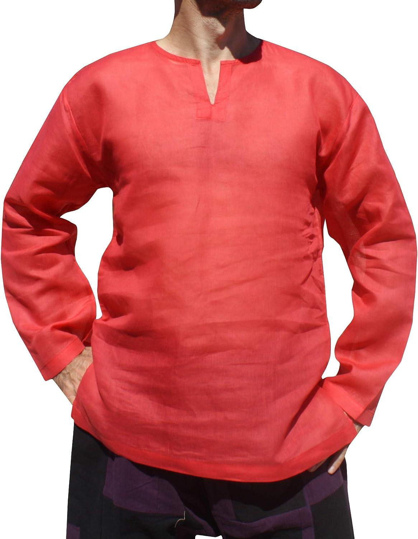 RaanPahMuang Brand Basic Light Cotton Long Sleeve Open Collar Beach Shirt Casual