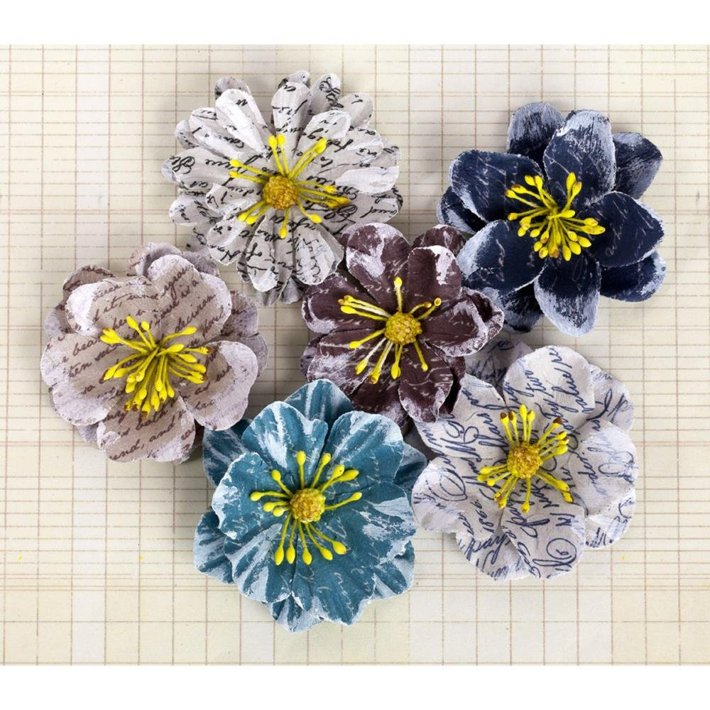 Prima Marketing Labelle Paper Flowers 1.5 To 2 6//Pkg-Tranquil