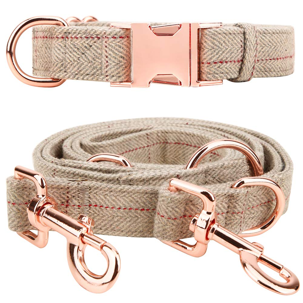 Tifereth Heavy Duty Dog Leash and Collar Set 6 Foot Perfect for Medium to Large Dogs (M (11''-17.7''), Beige)