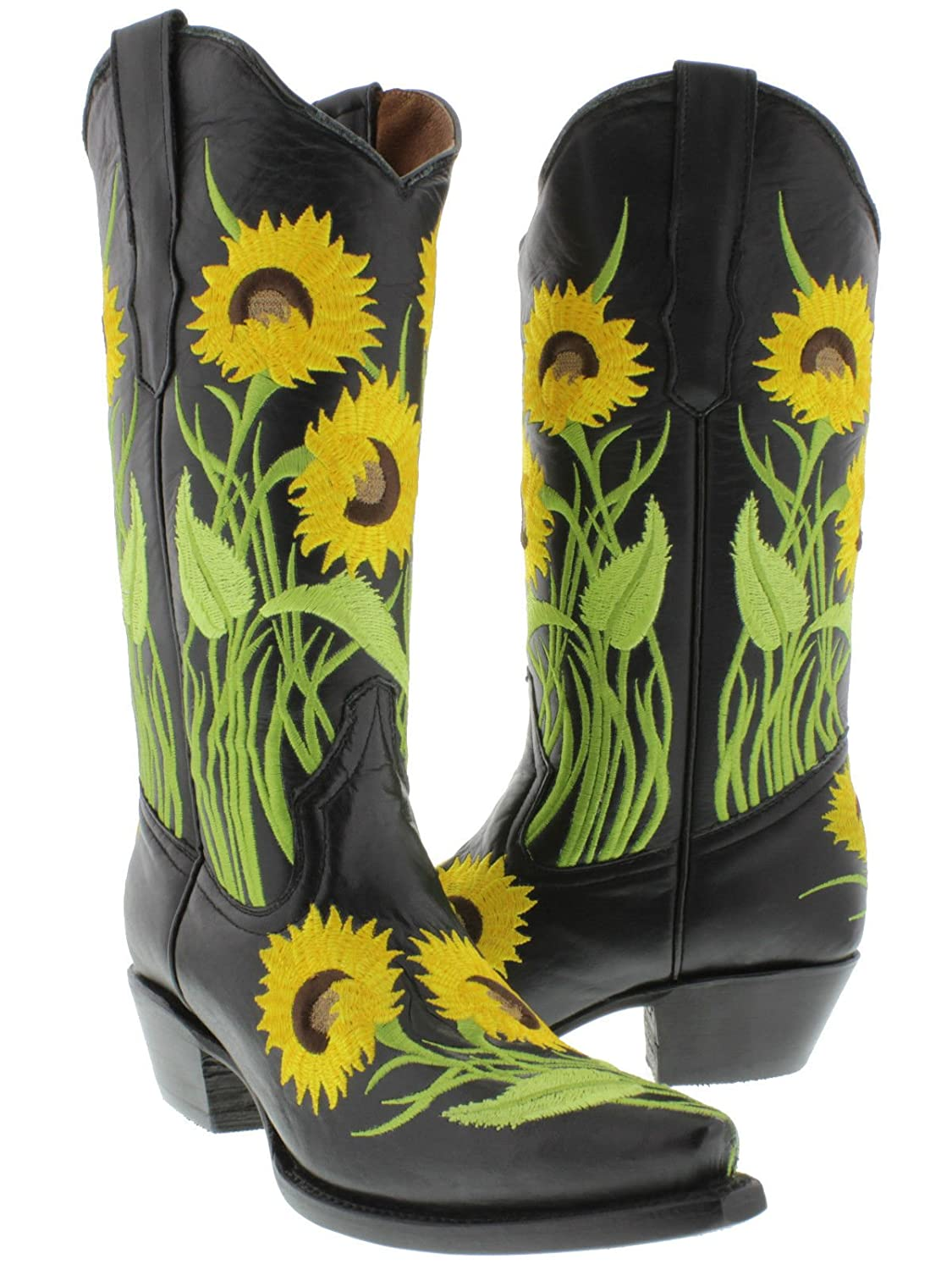 0a728d38d69 Cowboy Professional - Women's Black Sunflower Embroidery Leather Cowboy  Boots