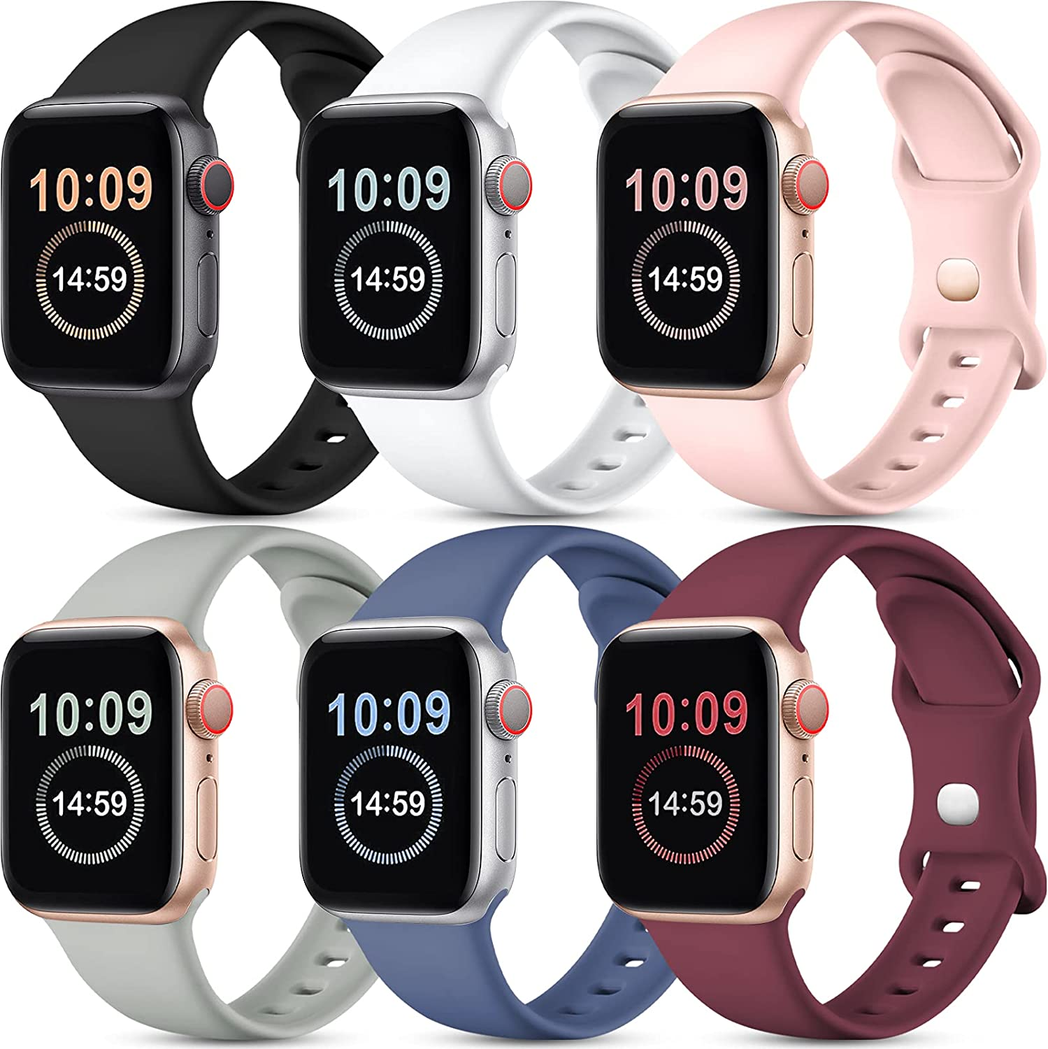 [6 Pack] SNBLK Compatible with Apple Watch Bands 44mm 42mm 40mm 38mm, Soft Silicone Sport Wristbands Replacement Strap Compatible for iWatch Series 6 5 4 3 2 1 SE