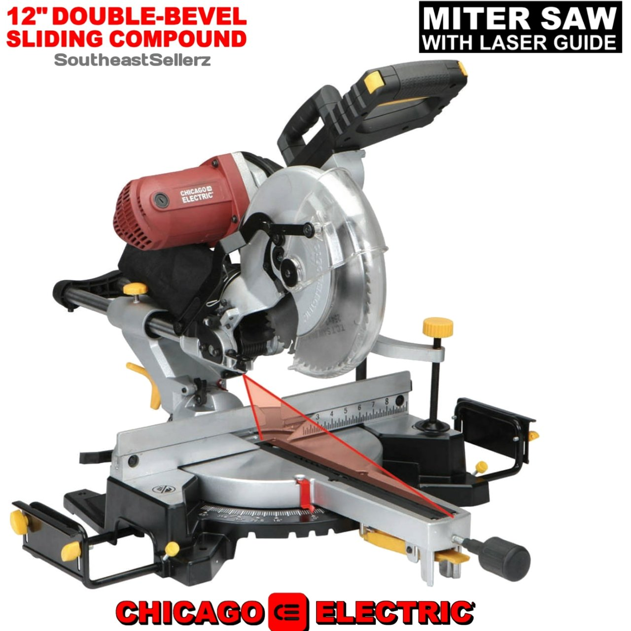 "NEW 12"" Double-Bevel Sliding Compound Miter Saw w/Laser Guide Trim Moulding"