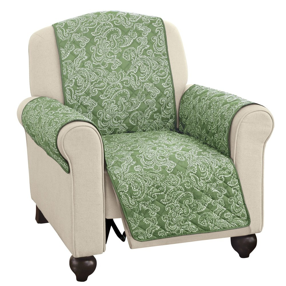 Collections Etc Paisley Reversible Furniture Protector Cover, Sage, Recliner