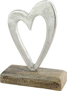5th Anniversary Rustic Metal Heart Decoration – Free Standing Aluminium & Wooden Decoration (hssanni-5)