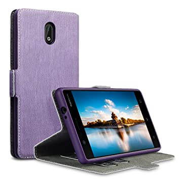 innovative design dc6e2 4dbb0 TERRAPIN, Compatible with Nokia 3 Case, Slim Fit Leather Wallet Flip Cover  with Stand - Purple