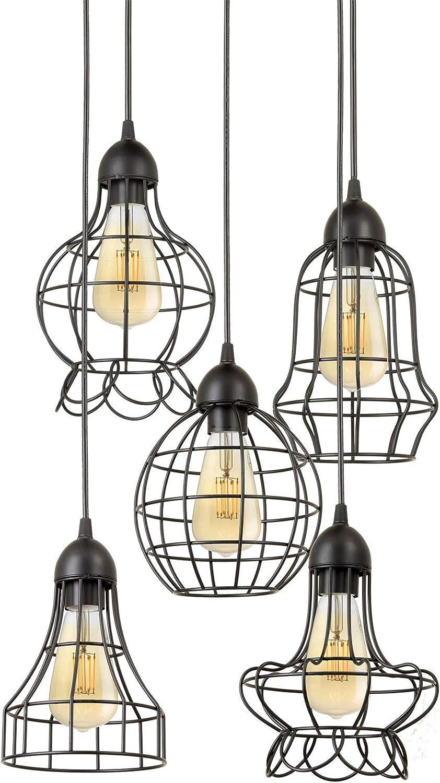 Kira Home Wyatt 15 Modern Industrial 5-Light Cluster Pendant Chandelier Wire Cage Metal Shades, Customizable Height, Matte Black Finish
