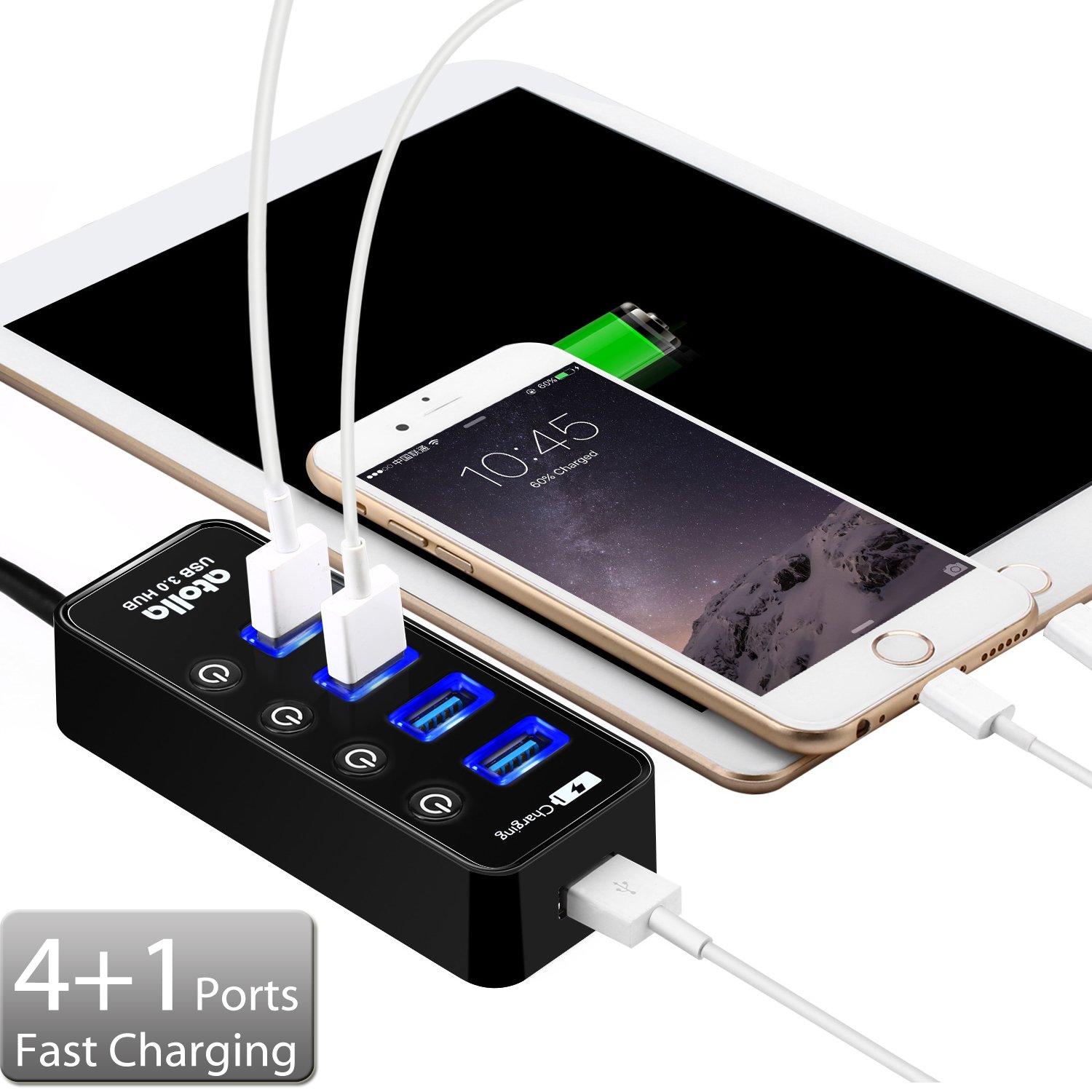 Usb 30 Hub Atolla 4 Ports Super Speed 3 W Auto Power On Splitter With Off Switch 1 Charging Port Cable Length 2 Feet No Ac Adapter