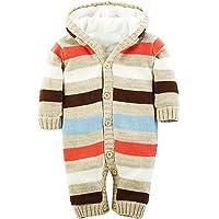 Minetom Baby Jungen Mädchen Herbst Winter Gestrickte Overalls Pullover Streifenmuster Rompers Mit Kapuze