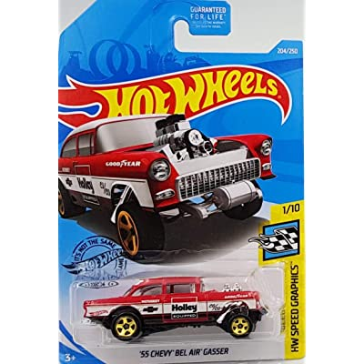 Hot Wheels 2020 Hw Speed Graphics '55 Chevy Bel Air Gasser (Red): Toys & Games