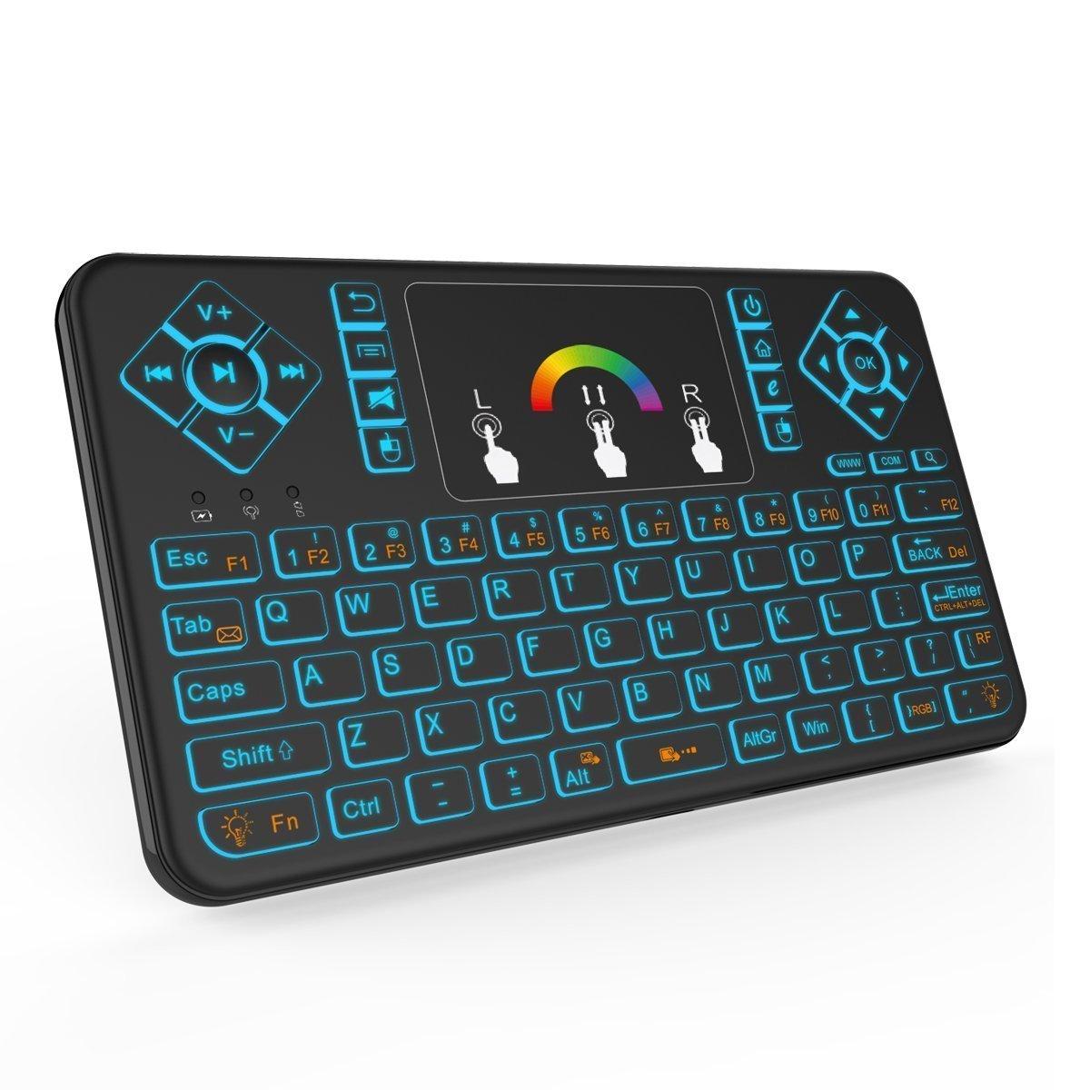 QQPOW Teclado inalámbrico colorido teclado retroiluminado inalámbrico Mini portátil con ratón Touchpad