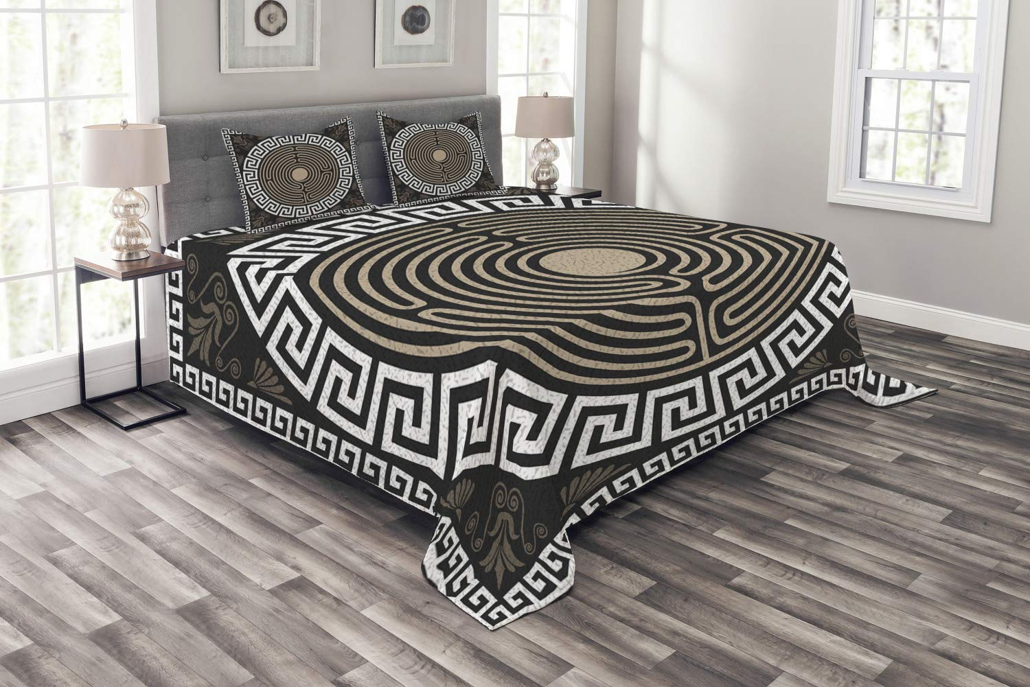 Ambesonne Greek Key Bedspread, Grecian Fret and Wave Pattern on Dark Background Antique Retro Swirls, Decorative Quilted 3 Piece Coverlet Set with 2 Pillow Shams, Queen Size, Brown Coconut