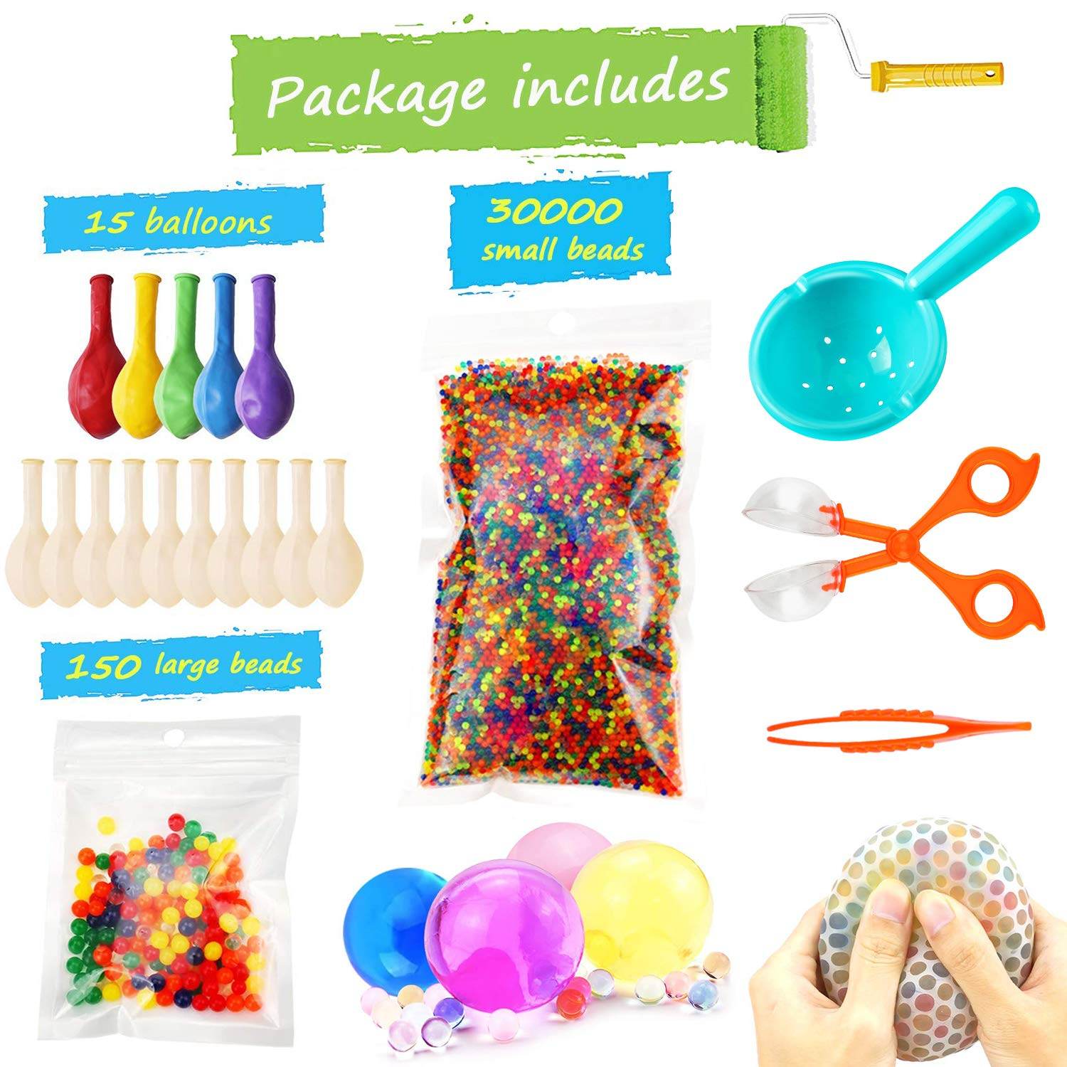 Water Beads Pack (30000 Small Water Beads /150 Large Jumbo Water beads/15 Balloons) Mixed Jelly Beads Water Gel Balls,Sensory Toys and Decoration by UWANTME