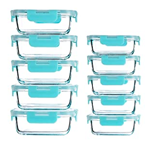 Lunch Meal Prep Containers 10 Pack (12Oz,34Oz),Glass Food Storage Containers with Lids,Microwave Freezer Dishwasher Oven Safe Glassware(Light Green)