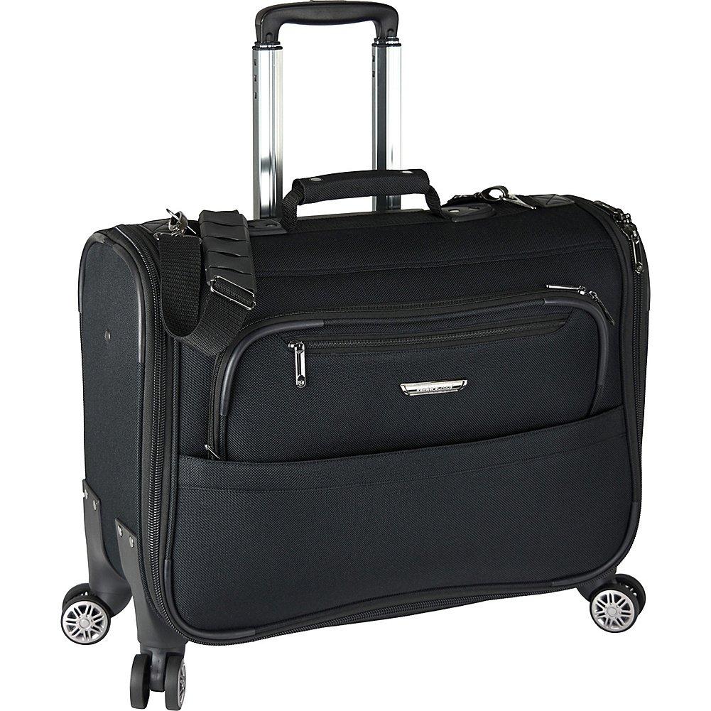 Traveler's Choice 21-inch Carry-on Softside Durable EVA Molded Ballistic Fabric 8-Wheel Spinner Garment Bag Luggage Suitcase, Black