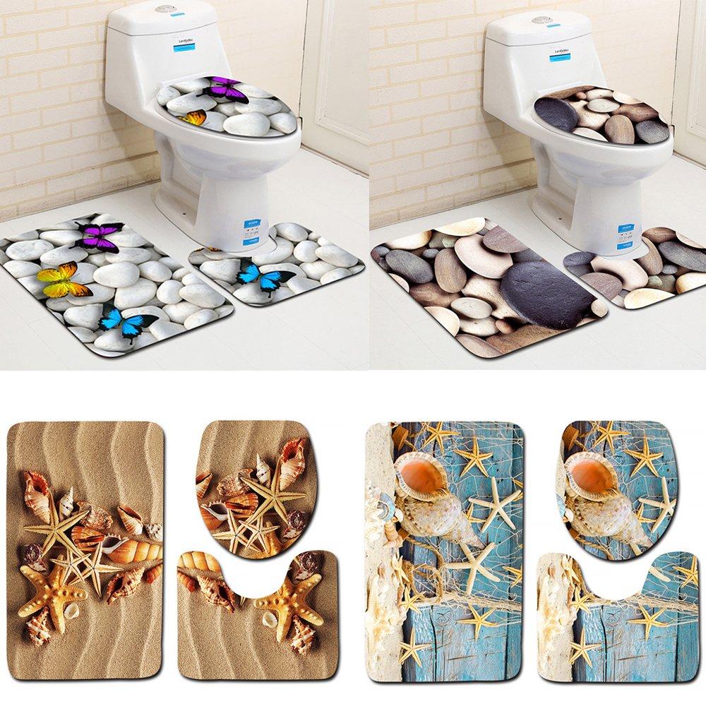 4 tipos Juego de alfombrillas antideslizantes para el ba/ño Tama/ño libre 01# tapete para asiento de inodoro alfombrilla de ba/ño alfombrilla para inodoro 3 piezas
