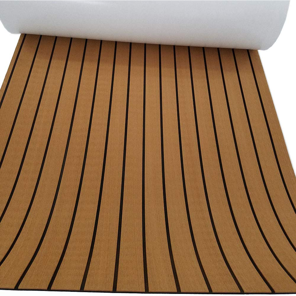 Eva Synthetic Teak Deck Mat For Boat UV Resistant 94.5''x35.4'' Light Brown by yuanjiasheng
