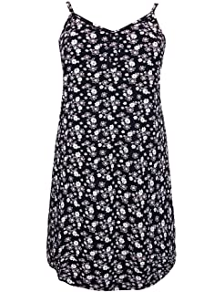Evans Strappy Black Floral Secret Support Plus Size Nightie Nightdress fc9dd3a5e