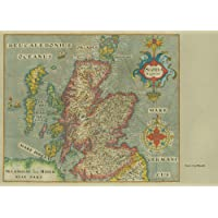 Diseño de Mapa Antiguo de Escocia de 1637250gsm