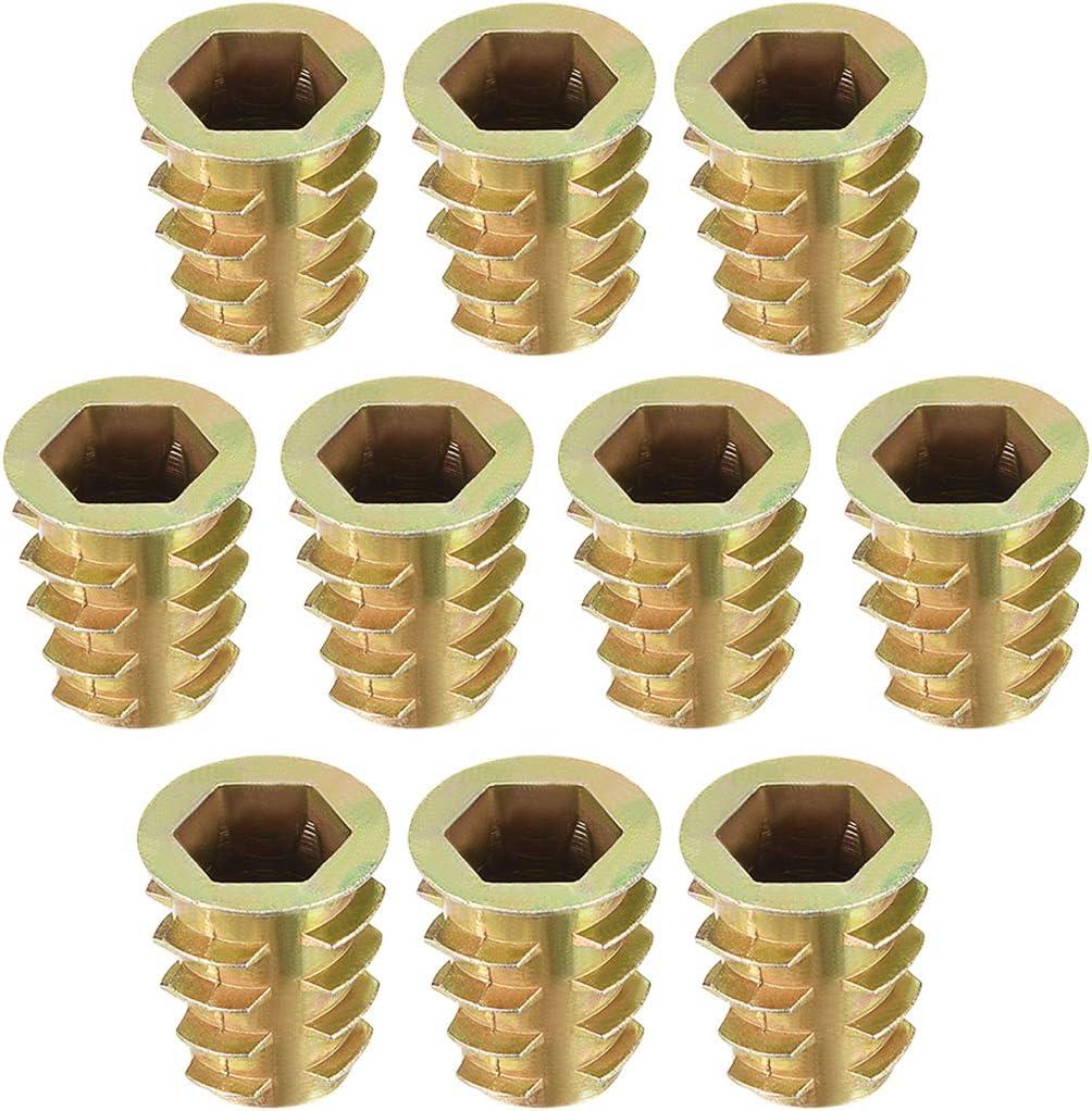 sourcing map Tuercas hexagonales de Inserci/ón de roscado de aleaci/ón de zinc rosca interior M10 15mm Longitud 20pcs
