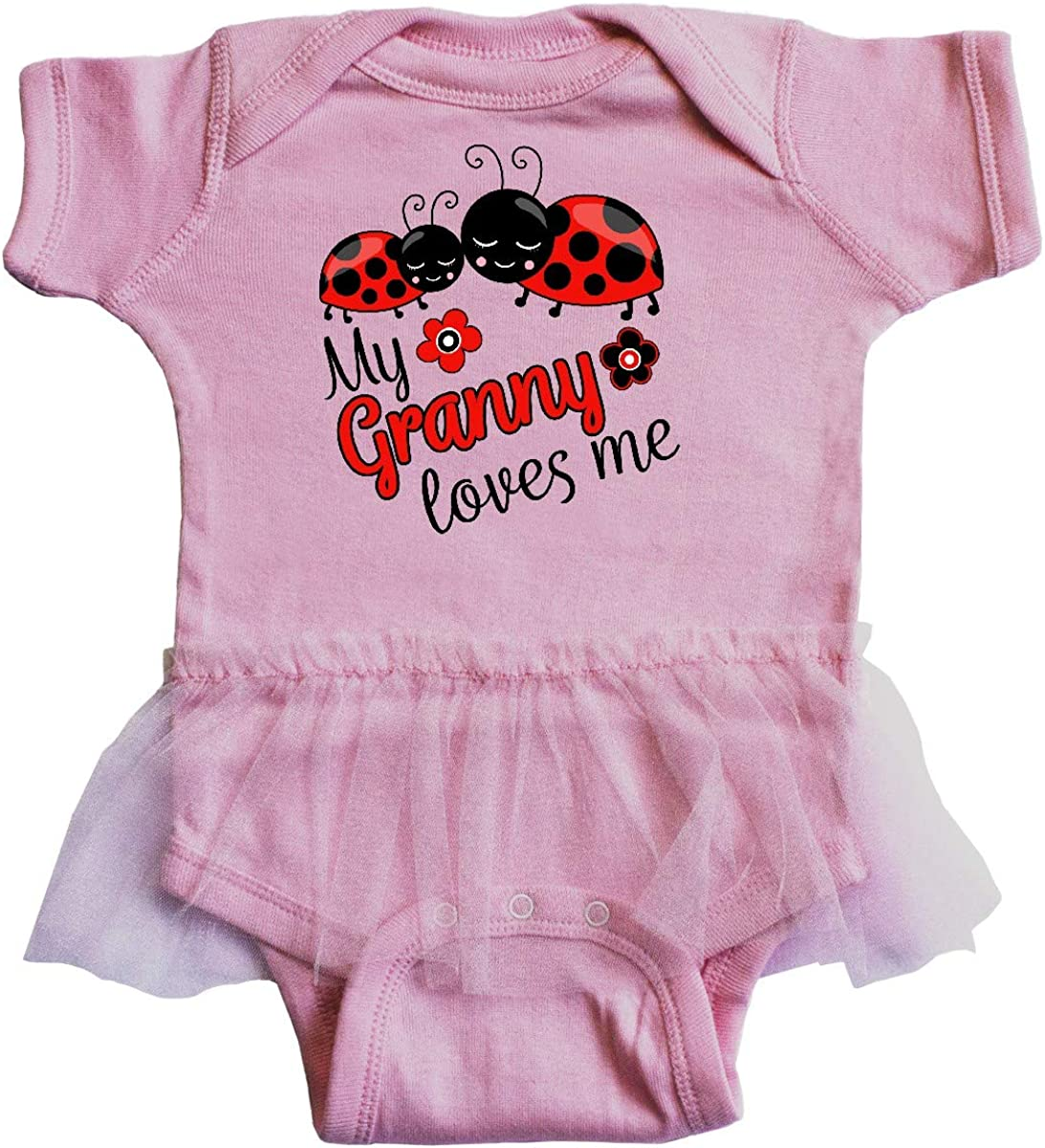 inktastic My Granny Loves Me with Cute Ladybugs Infant Tutu Bodysuit