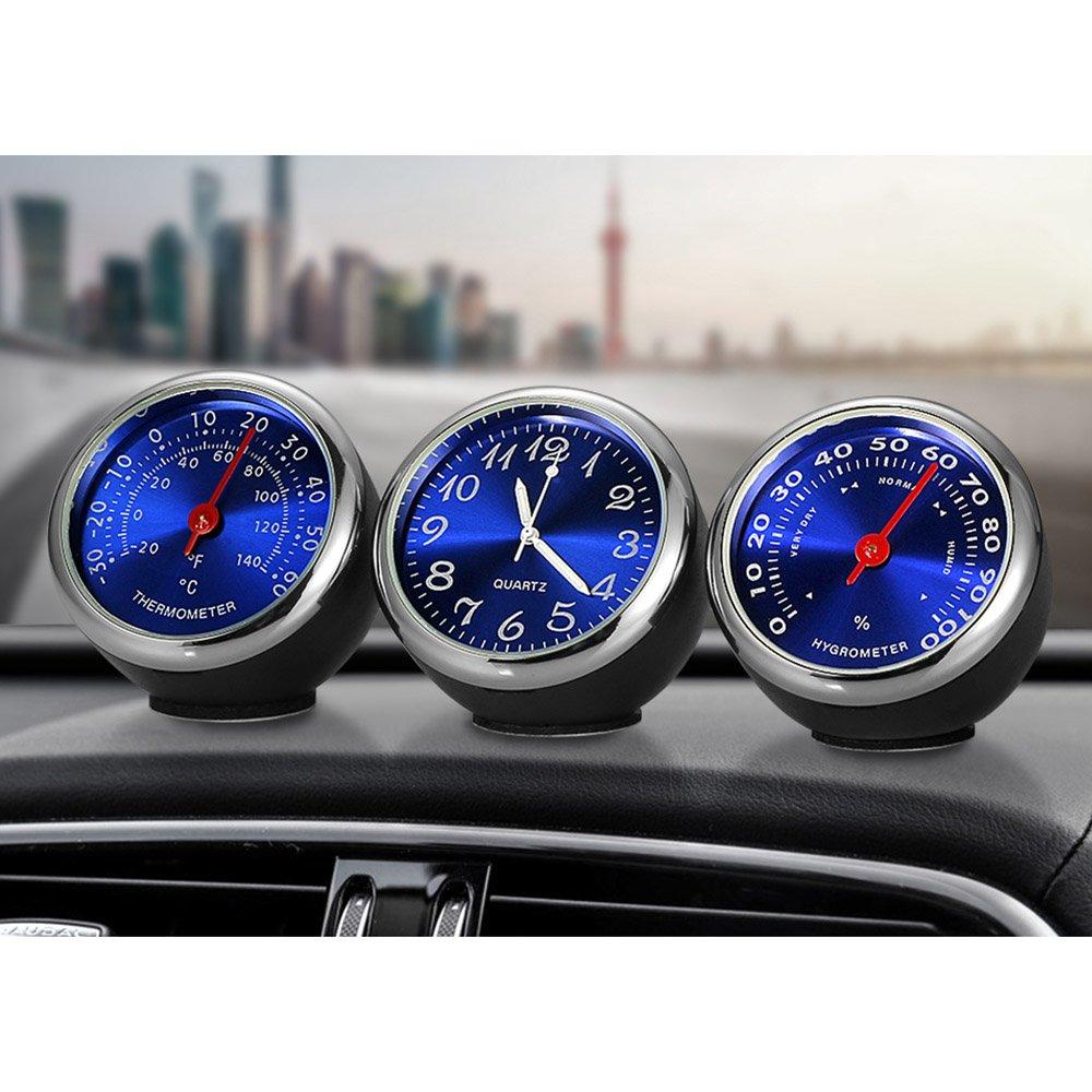 Walmeck Mini Auto Digital Thermometer Hygrometer Quarz Uhr Hohe Pr/äzision Automotive Elektronische Auto Zubeh/ör