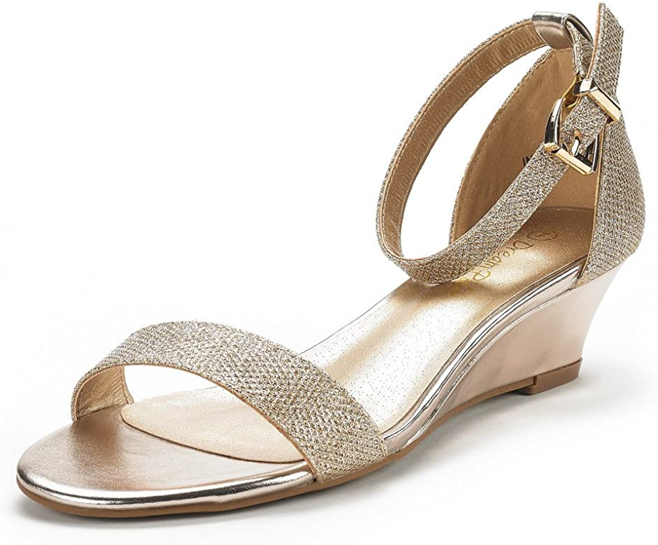 0fca56507b562 DREAM PAIRS Women's Ingrid Gold Plaid Ankle Strap Low Wedge Sandals Size 5  ...