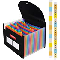 Expanding Files Folder Organizer 24 Pockets/Expandable Accordian File Organizer Bag A4/Letter Size Plastic Filing Box…