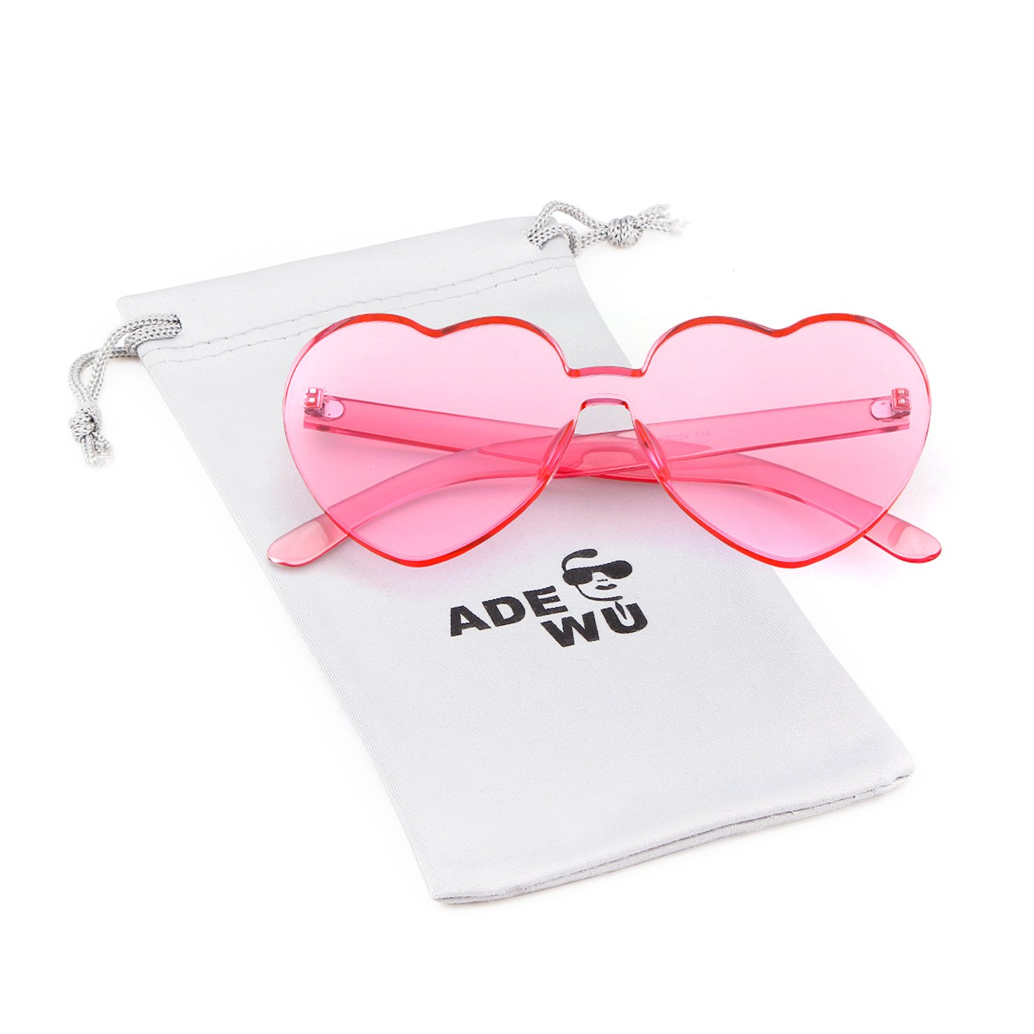 646f80dab99 ADEWU Love Heart Sunglasses Women Girl Rimless Candy Color One Piece ...