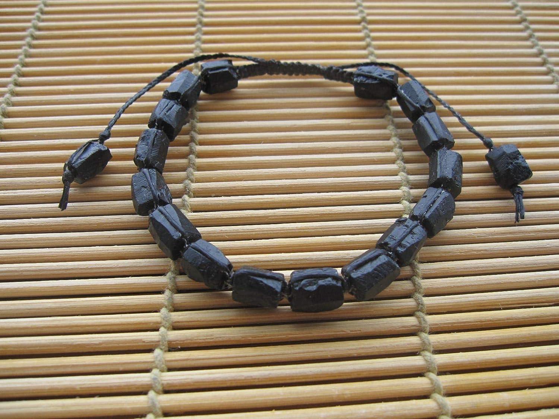 custom size 6.0,6.5,7.0 Rough Black Tourmaline Bracelet,Tourmaline Jewelry,October Birthstone,Macrame bracelet,Yoga bracelet,Men bracelet,Mala bracelet,Raw black tourmaline