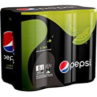 Pepsi Black, Carbonated Soft Drink, Slim Lime Flavour Can, 355 ml x 6