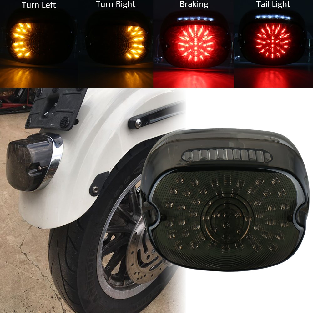Somked Lay Down Type Motorcycle Led Tail Light Harley 77 Ironhead Sportster Xl Wiring Diagram Davidson Rear Driving Turning Brake Taillights For 1200 883 Dyna Road King