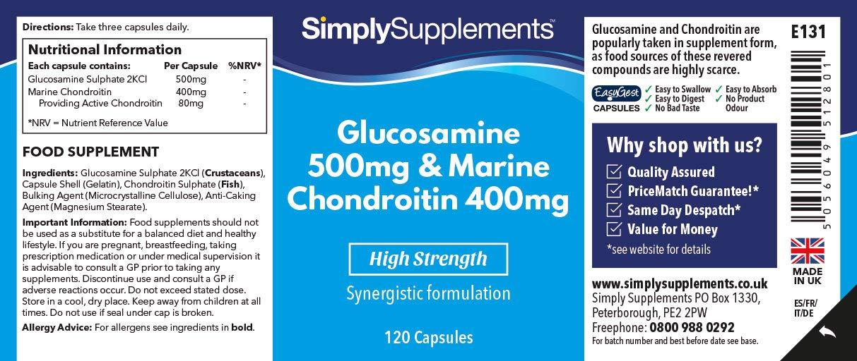 Glucosamina 500mg y Condroitina 400mg - 120 cápsulas - Hasta 4 meses de suministro - Favorece unas articulaciones sanas- SimplySupplements: Amazon. es: Salud ...