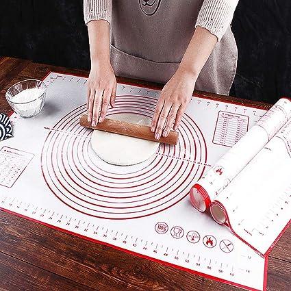 Grande Tapete Silicona Horno Pastry Baking Mat 70 x 50 cm Tapete Reposteria Non Stick Libre de BPA Antideslizante Reutilizable Alfombrilla Reposteria Tapete Fondant Rolling Hornear Estera Vino Rojo