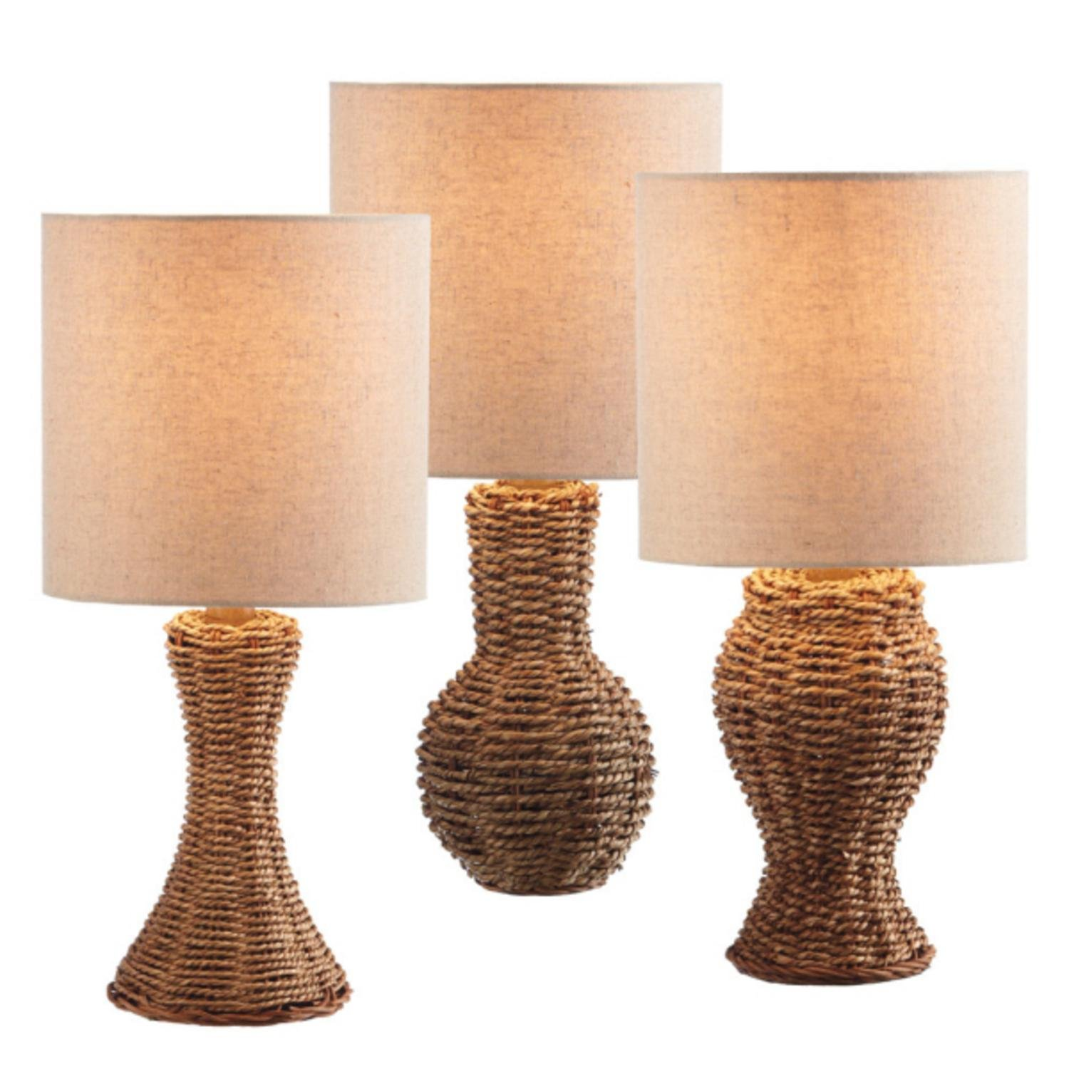Set of 3 Natural Wicker Mini Table Lamps with Cream Shades 16''