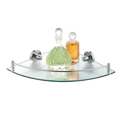 axentia eckwandablage aus glas mit verchromter fassung eckregal bad wc eckablage zum aufhngen - Eckregal Dusche Glas