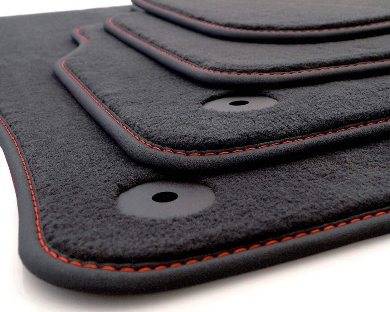 Kh Teile Fußmatten Velours Passend Für Q3 F3 Premium Qualität Autoteppich Anthrazit 4 Teilig Nubuk Schwarz Mit Ziernaht Rot Auto