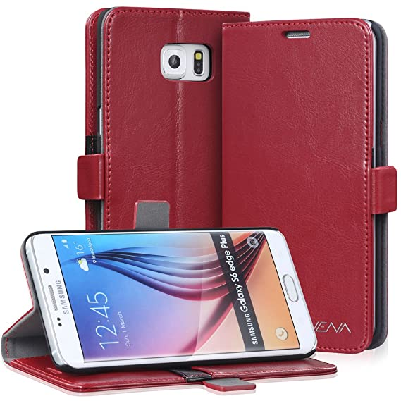 on sale 9a4b8 bc983 Galaxy S6 Edge Plus Wallet Case, VENA [vFolio | Genuine Leather] Slim  Vintage Flip Wallet Stand Case with Card Slots for Samsung Galaxy S6 Edge+  (Red)