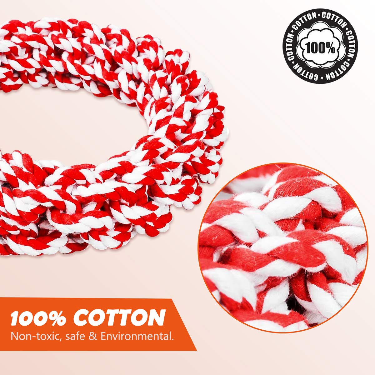 Red Non-toxic 100/% Cotton Tough Dog Chew Toys for Large Dogs Aggressive Chewers Dental Floss Rope for Dogs Dental Health Adult-Senior ZNOKA Dog Rope Toys Puppy Training Toy