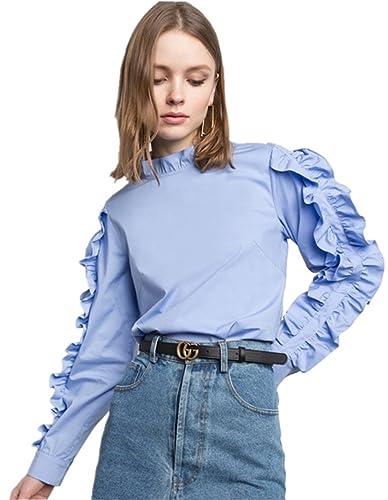 Moda Cuello Alto Subido Manga Larga Bajo de Volante Pull On Blusón Blusa Camisero Camiseta Camisa Top Azul