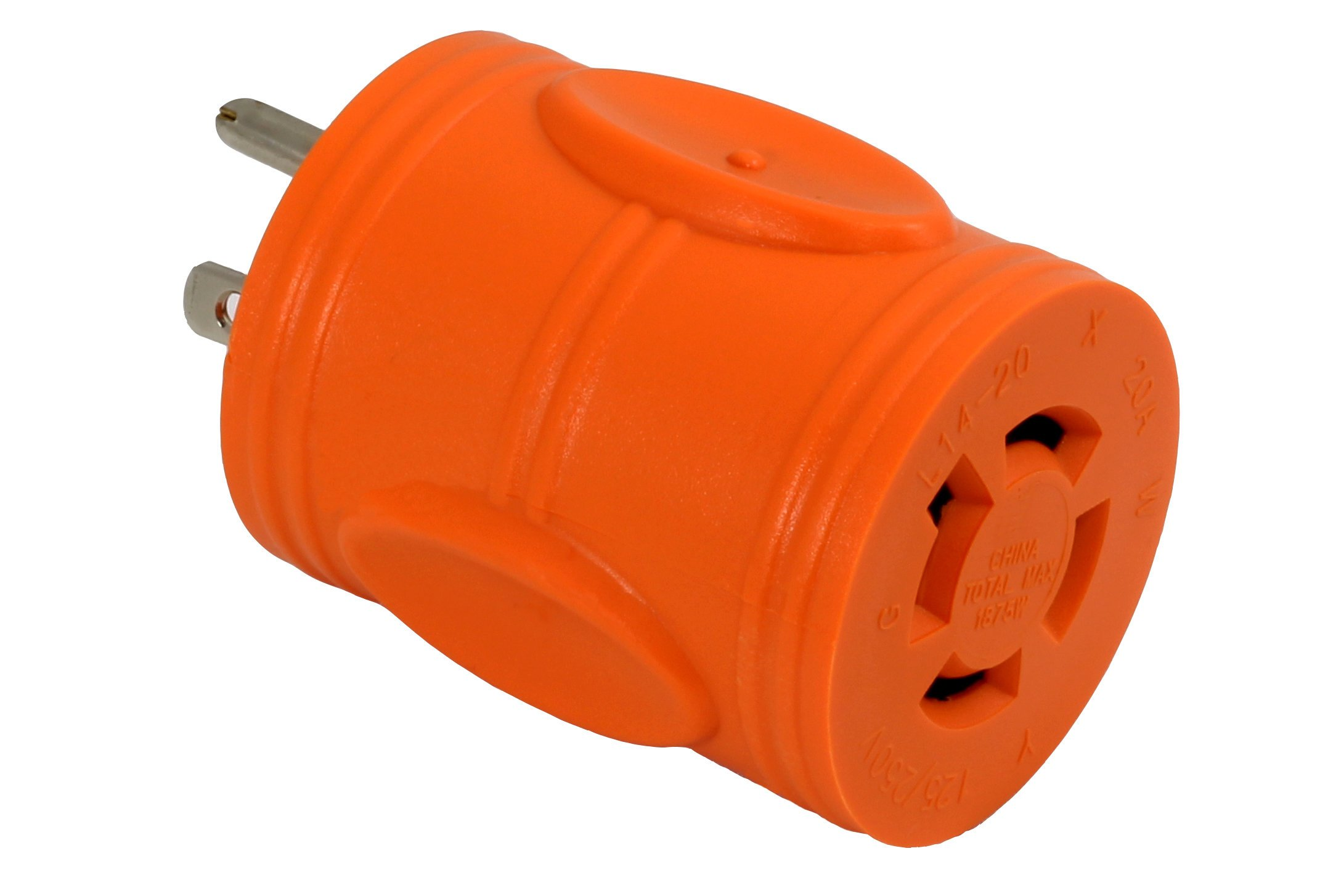 AC WORKS [AD515L1420] 15Amp Household Plug NEMA 5-15P to Generator 4 Prong 20Amp L14-20R (Two hots bridged)