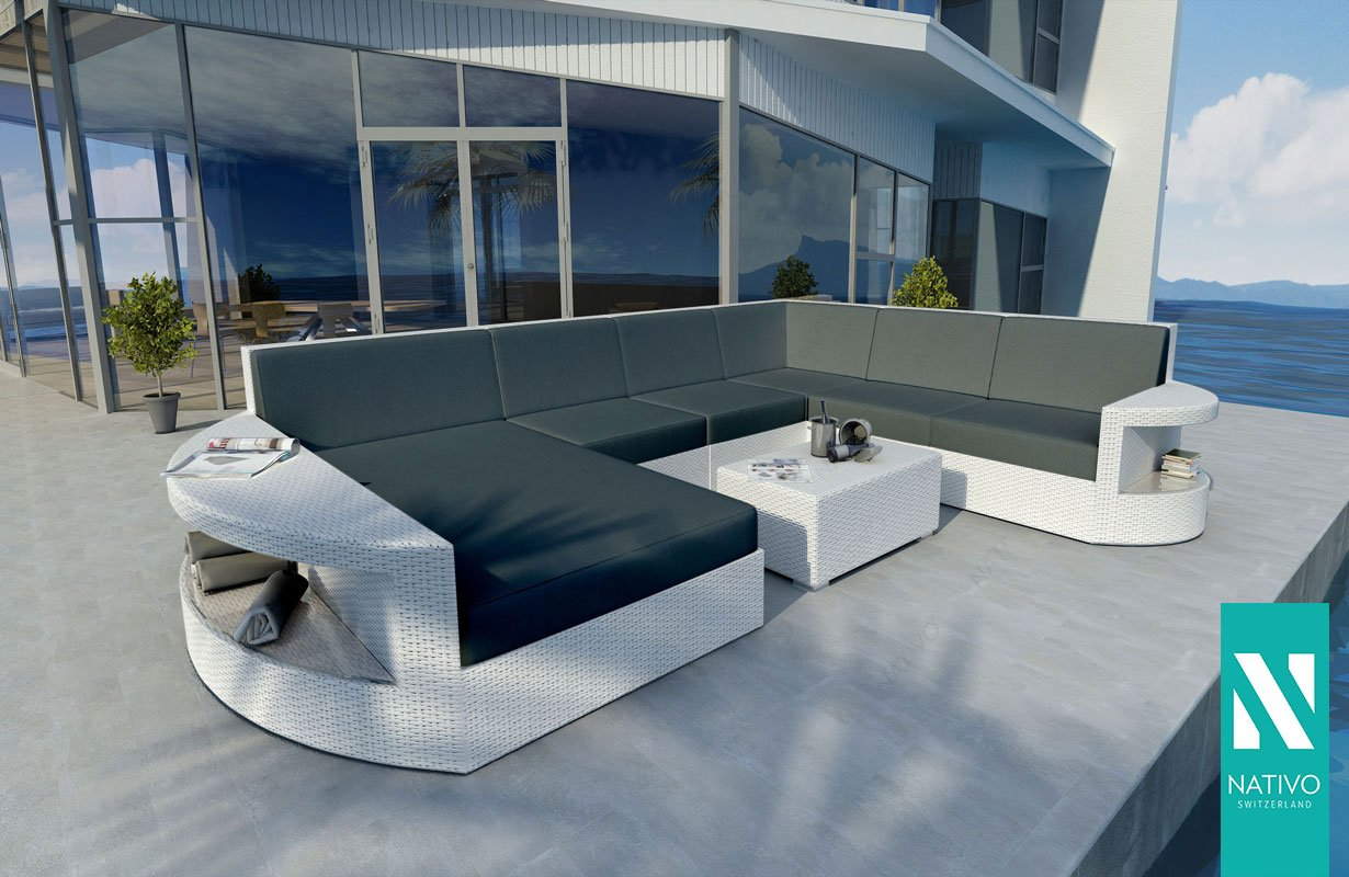 Uberlegen NATIVO© LUXUS RATTAN LOUNGE SOFA ATLANTIS XXL MIT LED LICHT Gartenmöbel  Lounge XXL OUTDOOR LOUNGE: Amazon.co.uk: Kitchen U0026 Home