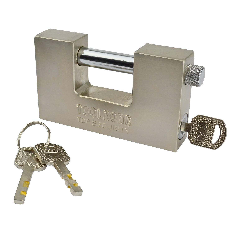 Padlock Steel Security Shutter Lock Container Door 100mm Rotating Shackle TE722 AB Tools