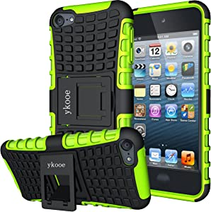 ykooe iPod Touch 7 Case, Touch 6 Case, Touch 5 Case, Heavy Duty Protective Cover Dual Layer Hybrid Shockproof Protective Case with Stand for Apple iPod Touch 5 6 7