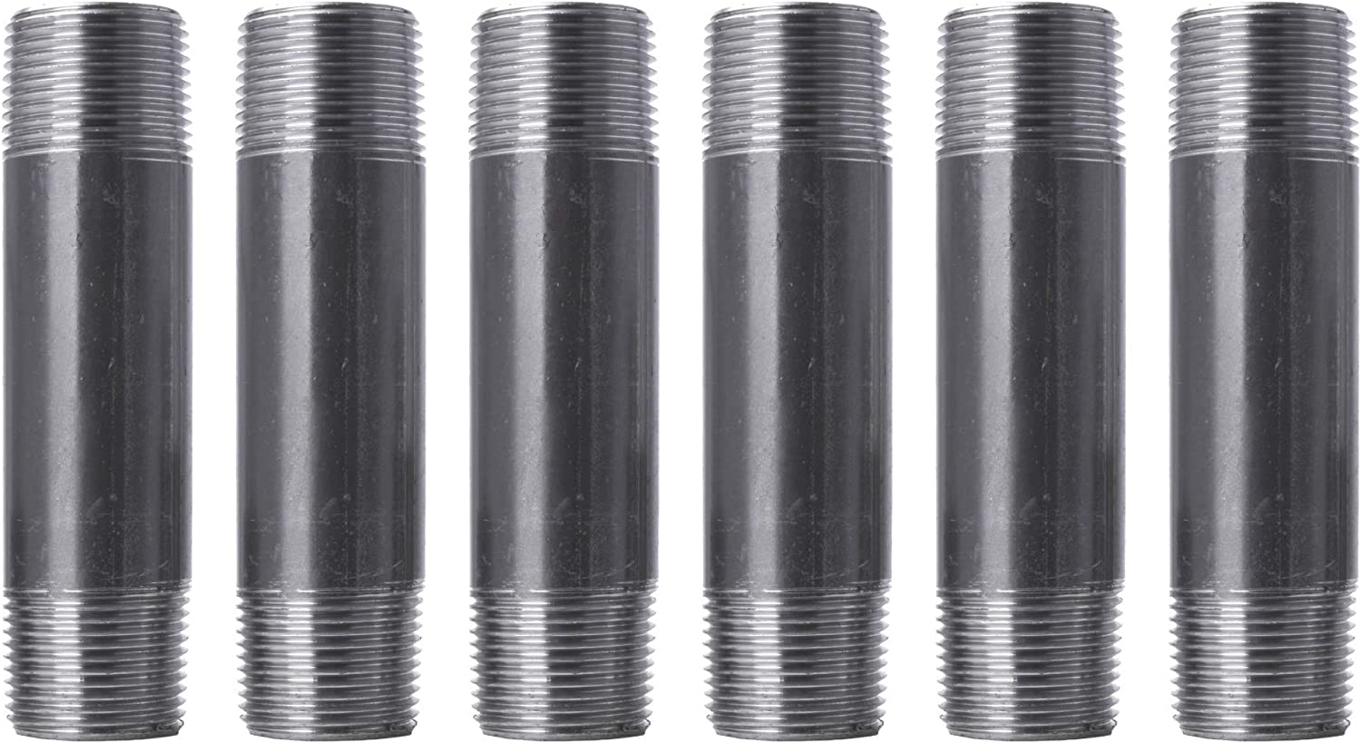 """Pipe Decor 1"""" x 5"""" Malleable Cast Iron Pipe, Pre Cut Connector, Industrial Steel Grey Fits Standard One Inch Black Threaded Pipes Nipples and Fittings, Build Vintage DIY Furniture, One Inch, 6 Pack"""