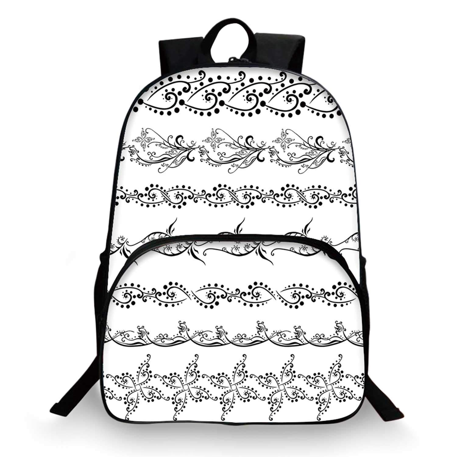 Henna Various Schoolbag,Fantasy Spring Blossoms Abstract Display Traditional Borders Collection Monochrome Decorative for student,11''Lx6''Wx15''H by C COABALLA
