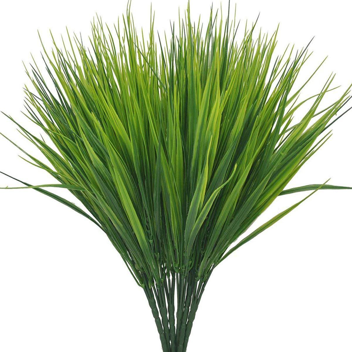 6 PCS Artificial Plants Outdoor Greenery Faux Plastic Wheat Grass Bushes Indoor Outside Green Verandah Office Wedding Decor UV Resistant Plant