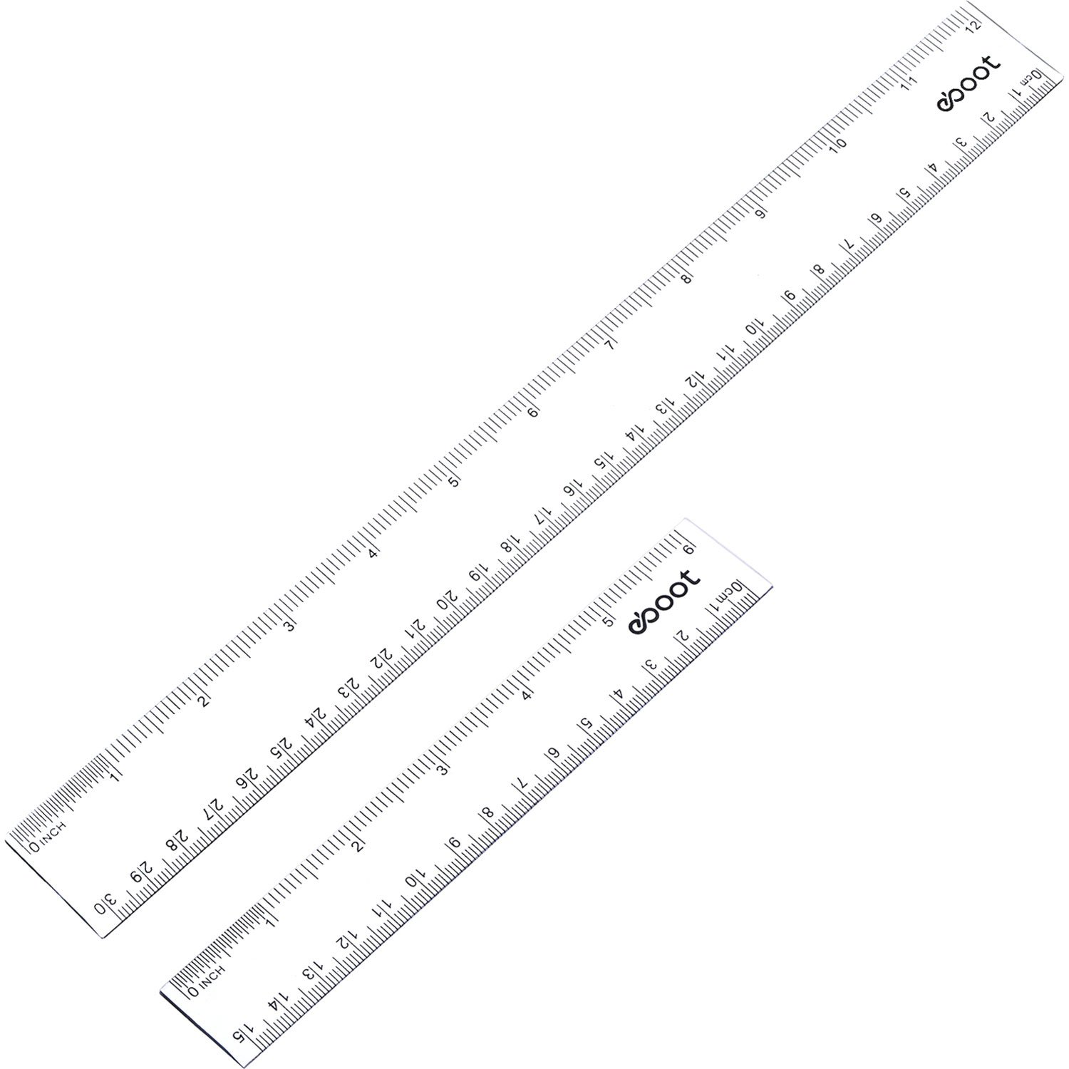 eBoot Plastic Ruler Straight Ruler Plastic Measuring Tool 12 Inches and 6 Inches, 2 Pieces (Clear)