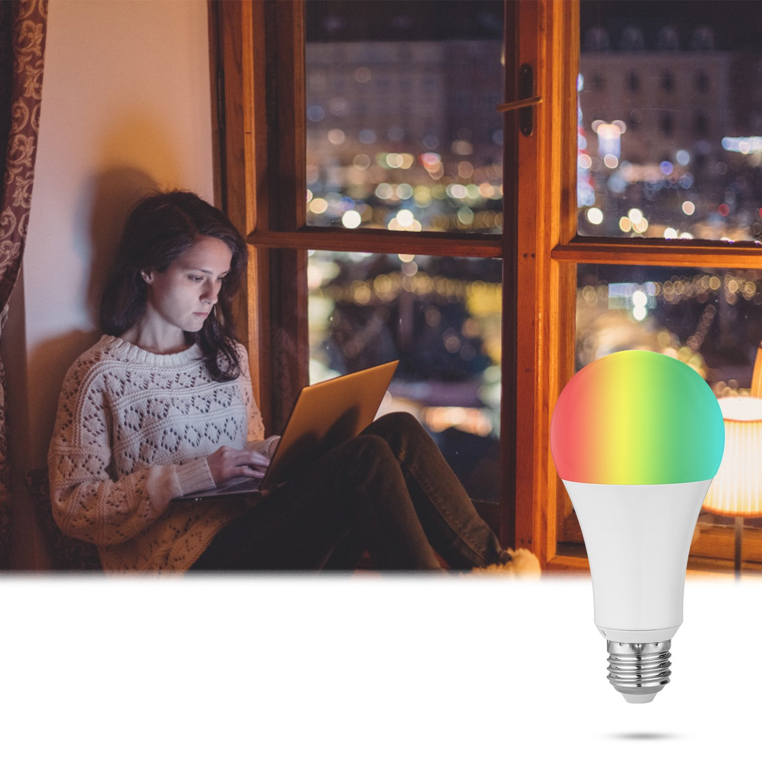 Compatible with Alexa /& Google Home E26 A19 WiFi Smart LED Light Bulb Dimmable Adjustable and Multicolor No Hub Required Smartphone Controlled 60W Equivalent Upgrade