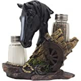 Black Stallion Salt and Pepper Shaker Set with Holder Display Stand Horse Figurine Featuring an Old-fashioned Wagon Wheel on Wood Fence, Horseshoes and Lasso Accents for Rustic Country Western Kitchen Decor Table Centerpieces As Gifts for Cowboys